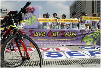 산업폐수 해양투기연장반대 전국 1200km 11박 12일 자전거 캠페인 3