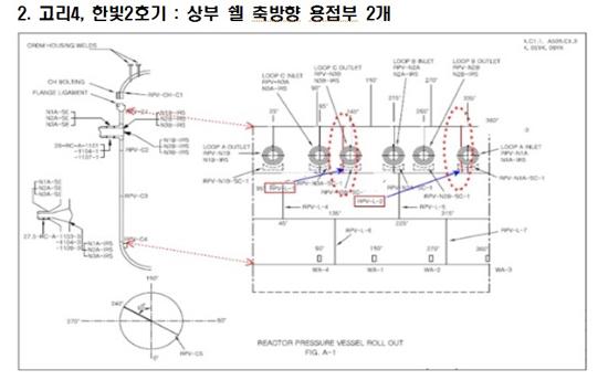 원자로에 도면에도 없는 용접부위가 3