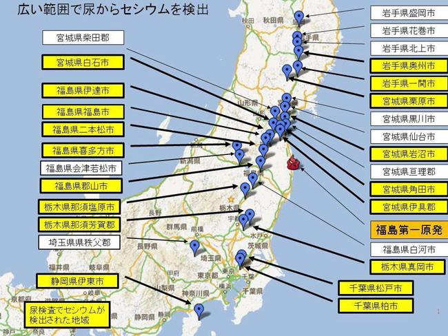 ▲ 일본 시민방사능감시센터가 일본 28개 지역 어린아이를 대상으로 소변검사를 실시한 결과 18개 지역의 어린아이 소변에서 세슘(Cs-134,137)이 검출됐다. ⓒ 일본시민방사능검사센터