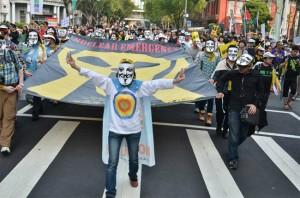 ▲ 지난달 14일 대만 수도 타이베에서 '핵과의 이별, 새로운 에너지 염원'이란 주제로 반핵 집회시위가 열려 참가자들이 거리행진을 하고 있는 모습. ⓒ 대만 전국핵폐기행동플랫폼