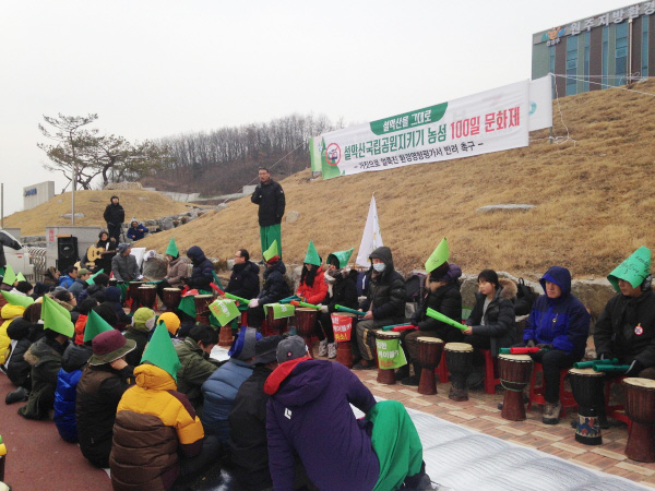 발언 중인 설악산지키기국민행동 박성률 목사 ⓒ 환경연합 김현경