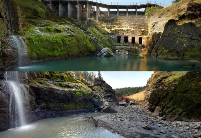 엘와댐(The Elwha Dam) 철거 전 후 (2011년 8월, 2012년 3월) ⓒ John Gussman
