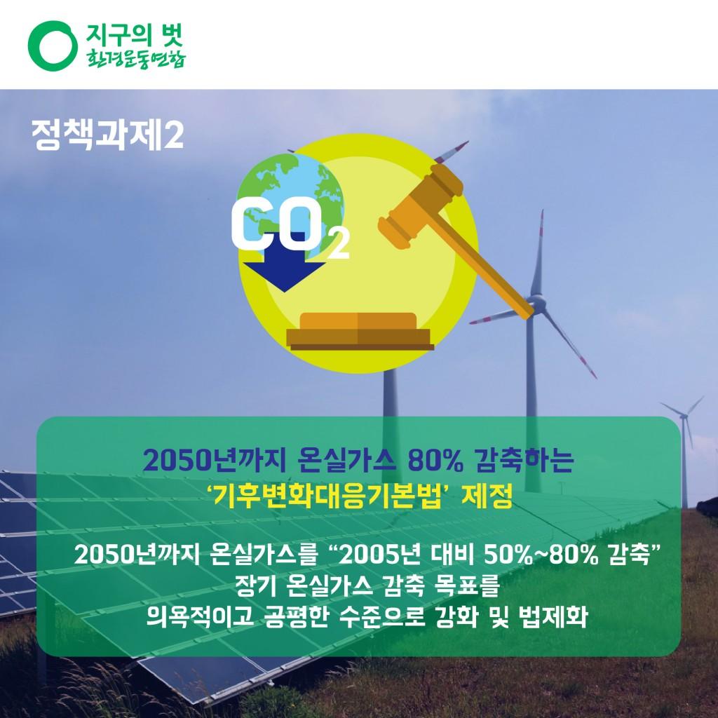 """정책과제2. 2050년까지 온실가스 80% 감축하는 '기후변화대응기본법' 제정 2050년까지 온실가스를 """" 2005년 대비 50% ~ 80% 감축 """" 장기 온실가스 감축 목표를 의욕적이고 공평한 수준으로 강화 및 법제화"""