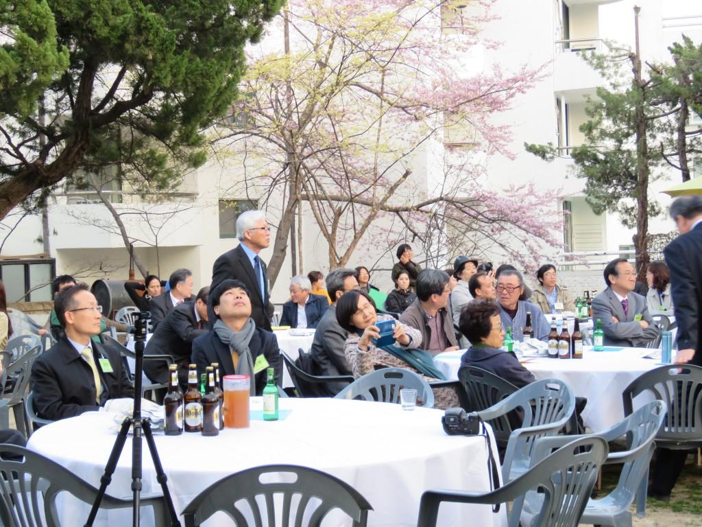 어느새 하얀 벚꽃잎 하르르 하르르 박종학 선생님 머리에 내려 앉았나.ⓒ환경운동연합