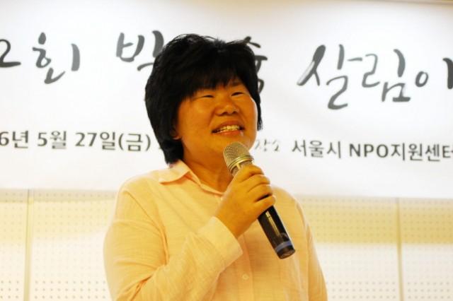 수상소감을 나누고 있는 임희자 정책실장 ⓒ 환경운동연합 김현경