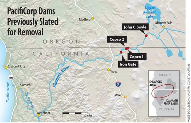 클라마스 강 졸업을 앞둔 4개의 댐 위치