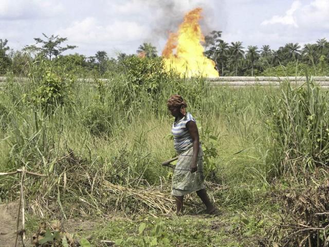 Woman tending her plot at Shell gas flare site, Rumuekpe, June 2004