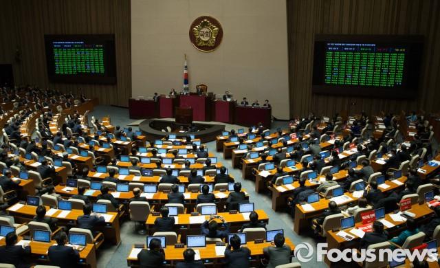 지난 3일 오전 서울 여의도 국회에서 2017년도 예산안 처리를 위해 열린 346회 국회(정기회) 16차 본회의에서 2017년도 예산안에 대한 수정안이 재석 281인 중 찬성 221인, 반대 30인, 기권 30인으로 통과되고 있다.