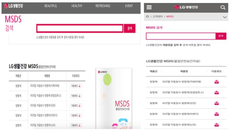 현재 LG생활건강은 고객센터 홈페이지에 'MSDS(물질안전보건자료)' 페이지 (http://www.lgcare.com/customer/msds.jsp)를 통해 제품의 성분 및 안전성을 제공하고 있다.