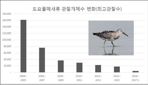 새만금의 도요물떼새류 관찰개체수 변화. (자료 제공 : 새만금시민생태조사단)