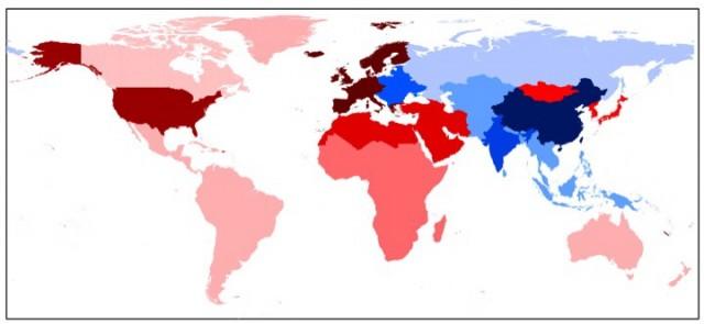 붉은 색이 진할수록 오염수출국이다. 서유럽, 미국이 가장 심하고 기타 동아시아, 중동 및 북아프리카가 그 다음으로 심하다. (사진 Nature)