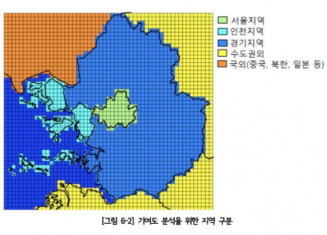 서울시 미세먼지에 대한 기여도 산출을 위한 주변 지역 배출량 입력자료. 중국, 북한, 일본은 하나로 합쳐져 서울 북동쪽에 배치되어 있다.