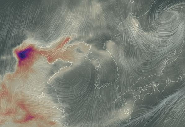나사의 실시간 미세먼지 인공위성 사진으로 잘못 알려진 컴퓨터 그래픽 사례.지도는 실선으로, 바람은 화살표로 그려져 있다.(사진 KBS 보도 자료 중 발췌)