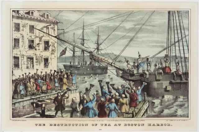보스턴 차 사건을 그린 석판화(1846년작)