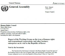 유엔 기업과 인권 실무그룹 2016년도 한국 방문 보고서(국영문)
