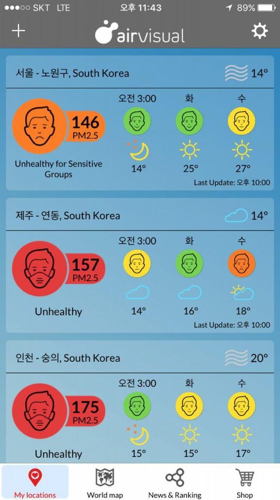 5월 1일 대기질 상황. 친정집이 있는 제주시, 시댁이 있는 인천 남구 모두 대기질이 최악이다. 안전지대는 결코 없다.