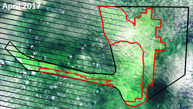 Recent satellite imagery shows that POSCO Daewoo's palm oil company in Papua, Indonesia, PT Bio Inti Agrindo (PT BIA), destroyed around 9,900 hectares of forest between September 2015 and April 2017 (the area outlined in red), 2,400 ha of which were cleared just in the first four months of 2017. In total, since 2012, BIA has leveled 26,500 ha of mostly primary rainforest.