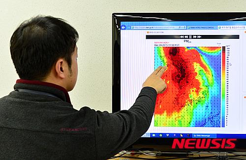 환경부 대기질통합예보센터의 중국발 미세먼지 모델링(사진 뉴시스)