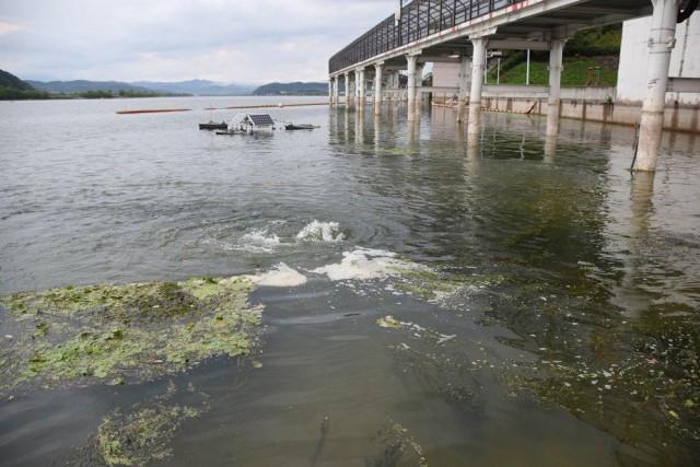 ▲ 강물 속에 회전식 스크류가 돌아가며 인위적인 물흐름을 만든다. 이것이 한국수자원공사의 녹조 대책이다. ⓒ대구환경연합 정수근