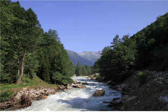 넨스크라강과 넨스크라댐 예정지 - 만년설이 녹아내린 차가운 강물은 급경사를 타고 내려오다 넨스크라댐(높이 130m, 길이 870m, 저수용량 1.67억 톤, 발전용량 280MW) 예정지에 이르러서 넓은 평지를 만나고, 다시 급류를 이루어 하류로 내려가고 있다. - 야생동물에게 유속이 느려지는 지역은 물을 먹기에 적당한 공간이다. 실제 댐 예정지 강변에서 동물 발자국을 확인할 수 있었다.