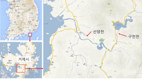 산양천 지도. 멸종위기종 남방동사리는 구천천 등을 포함한 산양천 수계에만 산다. 하천이 이렇게 짧은데도 대형댐이 두 개나 있다.