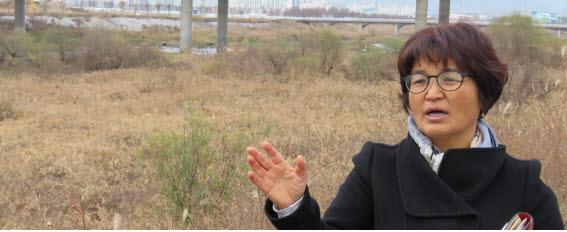 거창 황강변을 복원한 양항제 생태습지원을 설명하는 푸른산내들 이순정 사무차장