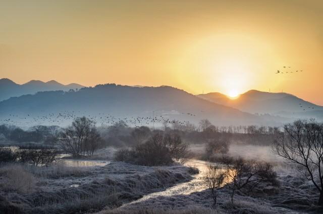 경남 김해의 화포천습지가 습지보호지역 지정 추진 10년만에 결실을 맺어 체계적인 관리와 보전이 이뤄지게 됐다. 사진은 겨울철새들이 군무를 이루고 있는 화포천습지의 아침 풍경.ⓒ사진제공=경남도
