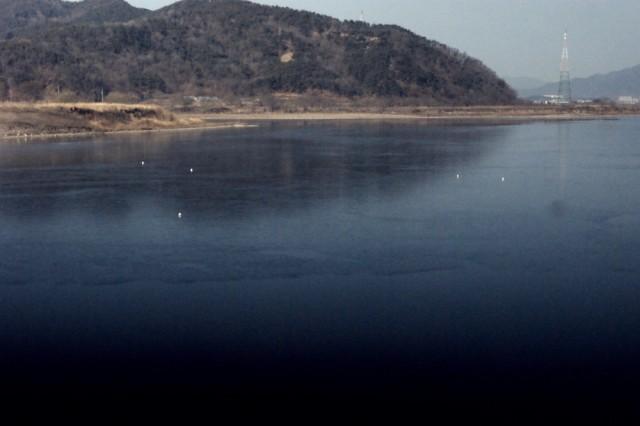 4대강사업 후의 위 사진과 같은 장소의 전혀 다른 모습. 4대강사업 후 죽음의 호수로 변해버린 해평습지의 모습이다. 이곳에 흑두루미는 더이상 도래할 수 없다. ⓒ 정수근