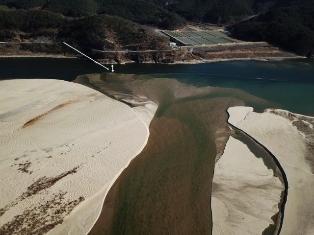 돌아온 모래톱이 강 건너편까지 길게 뻗어 곧 강 전체를 완전히 뒤덮을 것 같다. ⓒ 대구환경연합 정수근