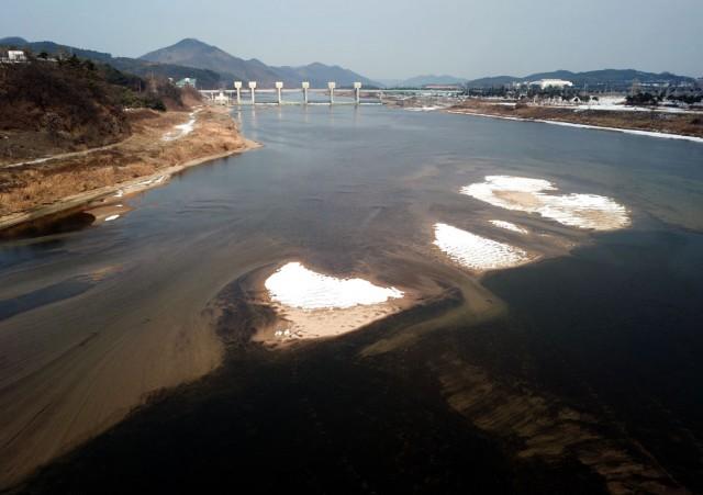 공주보가 바라다보이는 곳도 작은 모래섬들이 만들어지고 있다.ⓒ김종술기자