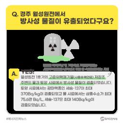 [#에너지진짜뉴스] 경주 월성원전에서 방사성 물질이 유출되었다구요?