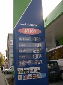 ▲ 2005년도 독일 한 주유소의 바이오디젤 가격 표지판. 제일 싼 가격이 바이오디젤 가격 ⓒ 김연지