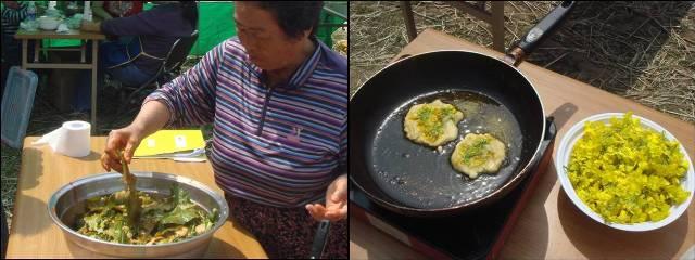 ▲ 이 날 축제에서는 유채나물과 유채화전을 만들어 먹는 행사가 열렸다. 27일 대전에서는 유채기름으로 만든 한과를 먹었다. ⓒ 김인택